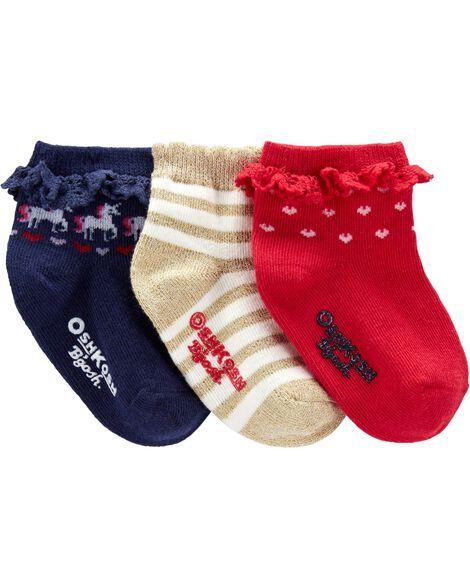 Emballage 3 paires de chaussettes mi-mollet des Fêtes