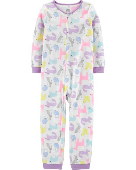1-Piece Woodland Creatures Fleece Footless PJs