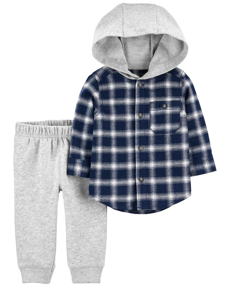 2-Piece Hooded Button-Front Flannel & Jogger Set, , hi-res