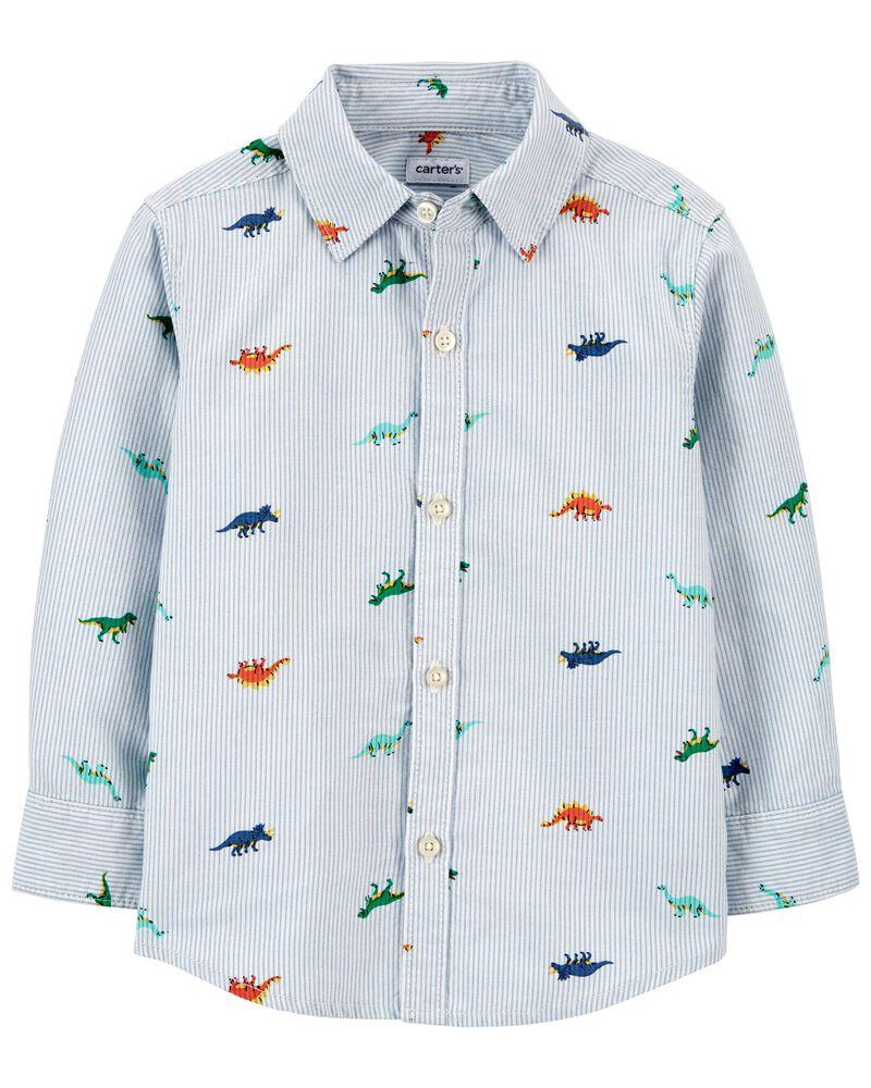 Chemise boutonnée en oxford rayée avec dinosaures, , hi-res