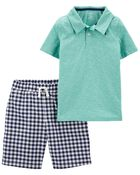 2-Piece Slub Jersey Polo & Gingham Shorts, , hi-res