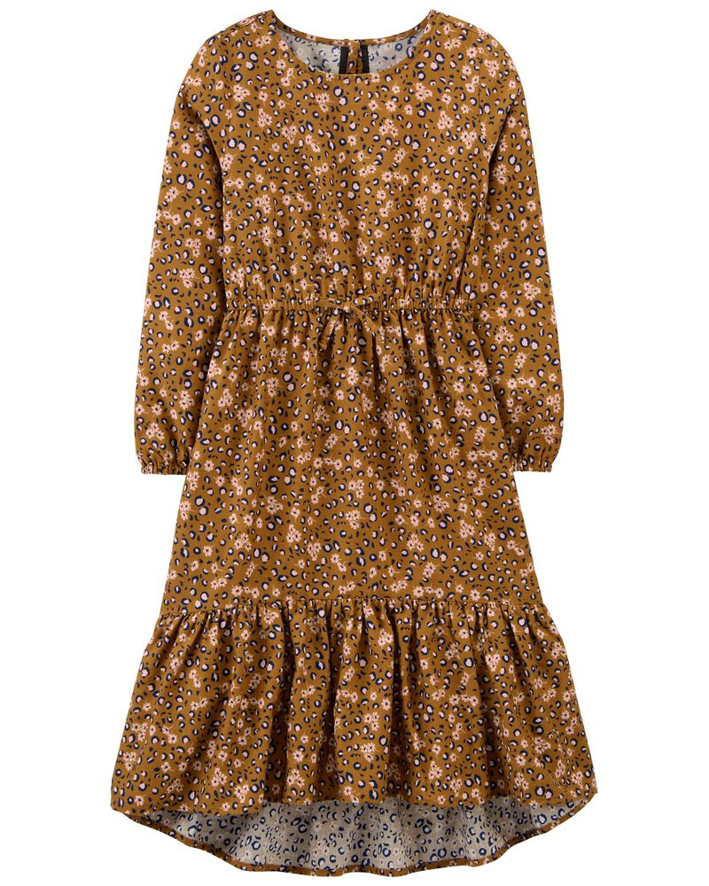 Tiered Floral Leopard Print Dress, , hi-res