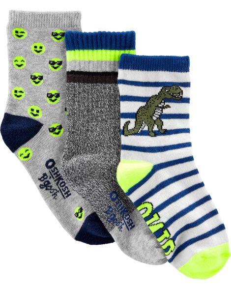 3 paires de chaussettes mi-mollet à motif dinosaure