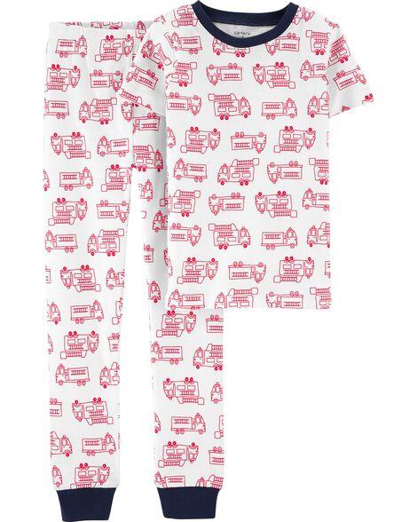 2-Piece Snug Fit Cotton Firetruck PJs