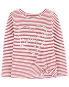 T-shirt en jersey à rayures et nœud devant , , hi-res