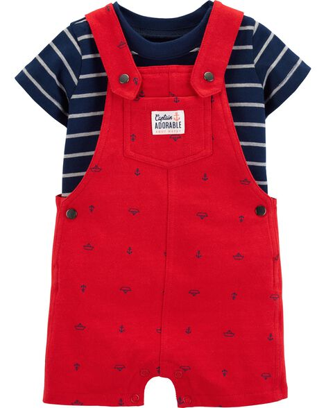 2-Piece Striped Tee & Anchor Shortalls Set