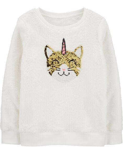 Flip Sequin Unicorn Cat Fuzzy Sweater