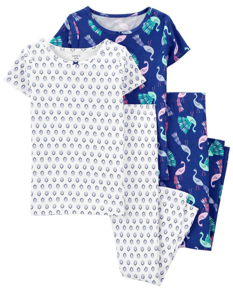 4-Piece Peacock 100% Snug Fit Cotton PJs, , hi-res