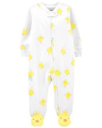 Chick Zip-Up Cotton Footie Sleep &...