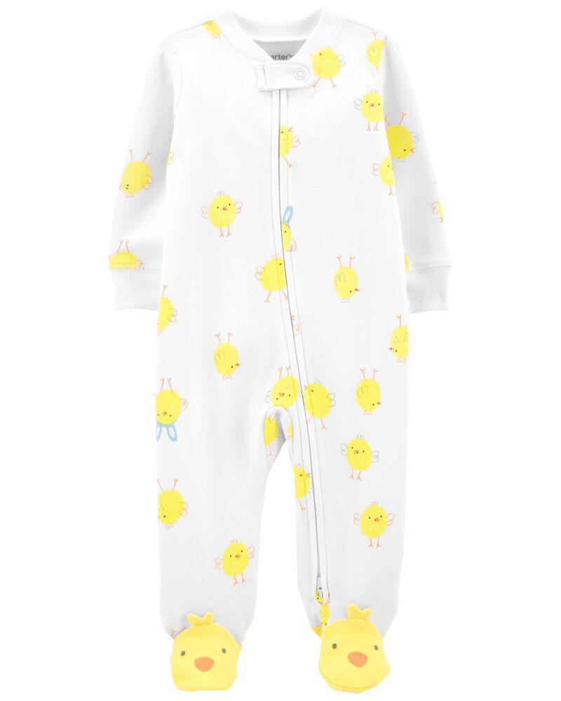 Chick Zip-Up Cotton Footie Sleep & Play, , hi-res