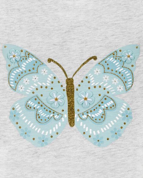 Robe en jersey avec tutu et motif de papillon