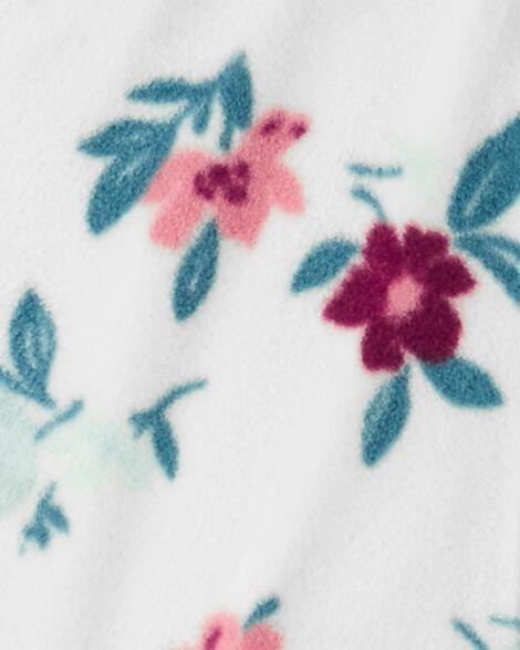 Hooded Floral Fleece Jumpsuit