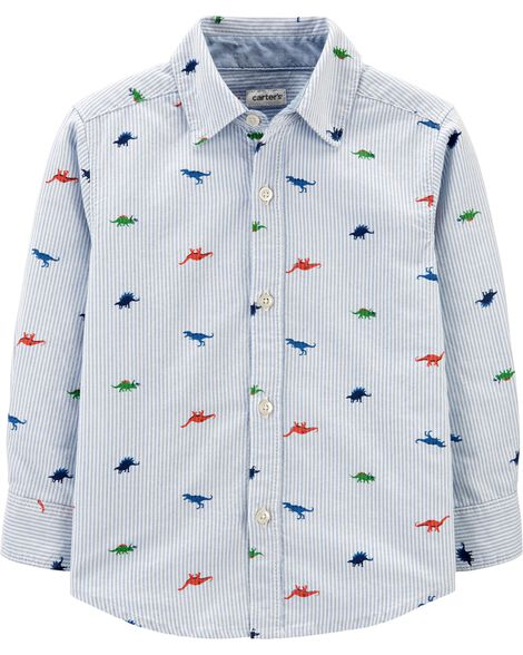 Striped Dinosaur Oxford Button-Front Shirt