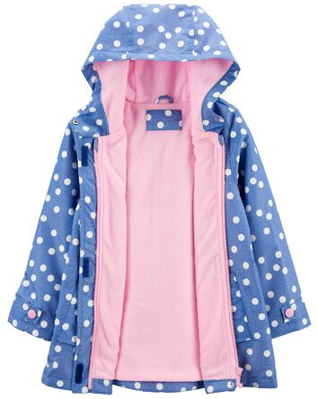 Fleece-Lined Dot Print Rain Jacket