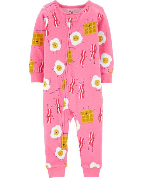Pyjama 1 pièce sans pieds en coton ajusté Breakfast