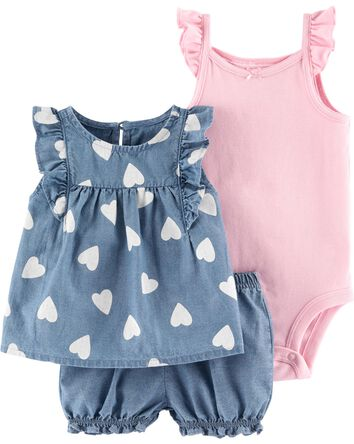 3-Piece Heart Little Short Set