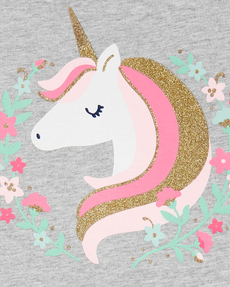 2-Piece Unicorn Peplum Top & Floral Legging Set, , hi-res
