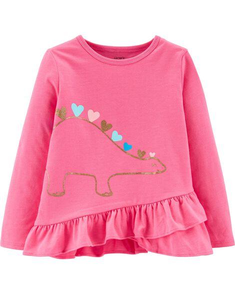 T-shirt volanté en jersey avec dinosaure scintillant fluo
