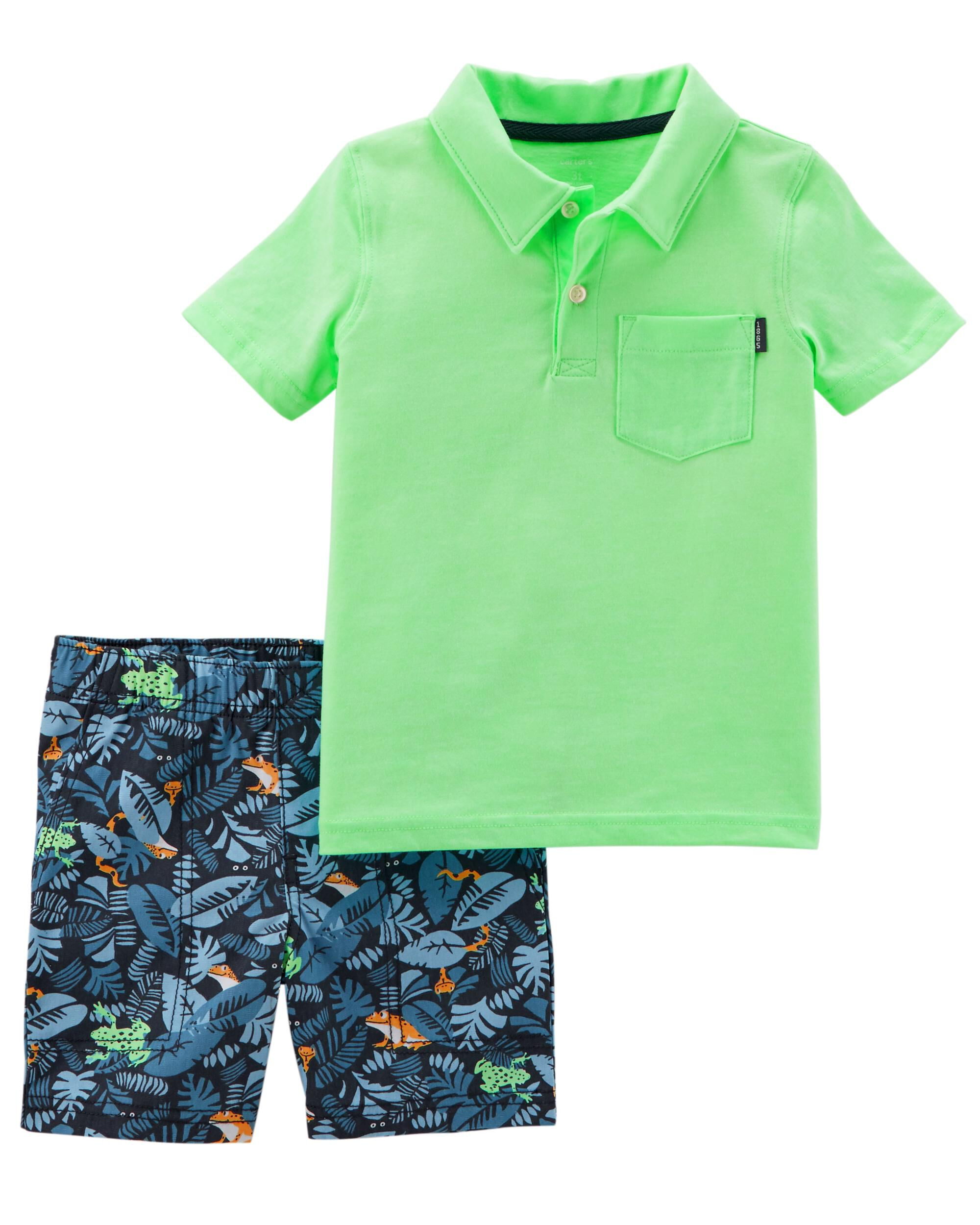 Carters Infant Boys 2-Piece Orange Polo T-Shirt /& Short Set NB