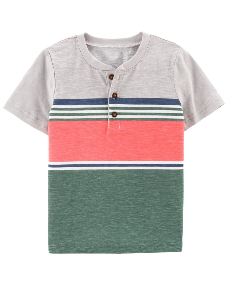 Striped Piqué Slub Henley, , hi-res