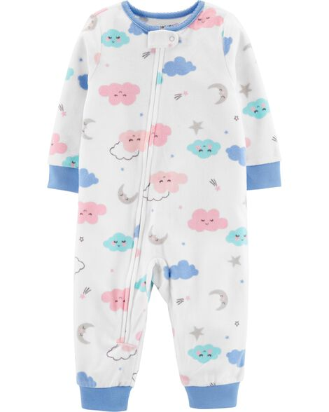 1-Piece Clouds Fleece Footless PJs