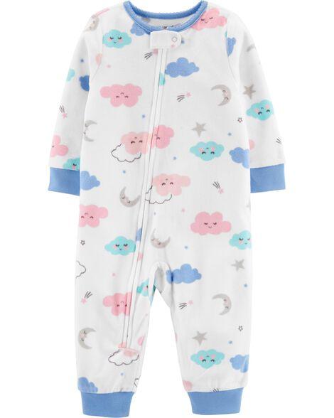 1-Piece Clouds Fleece Footless PJs