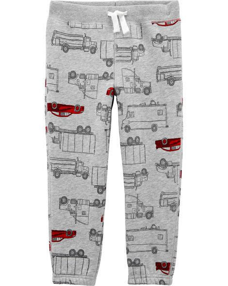 Pantalon à enfiler en molleton motif voiture