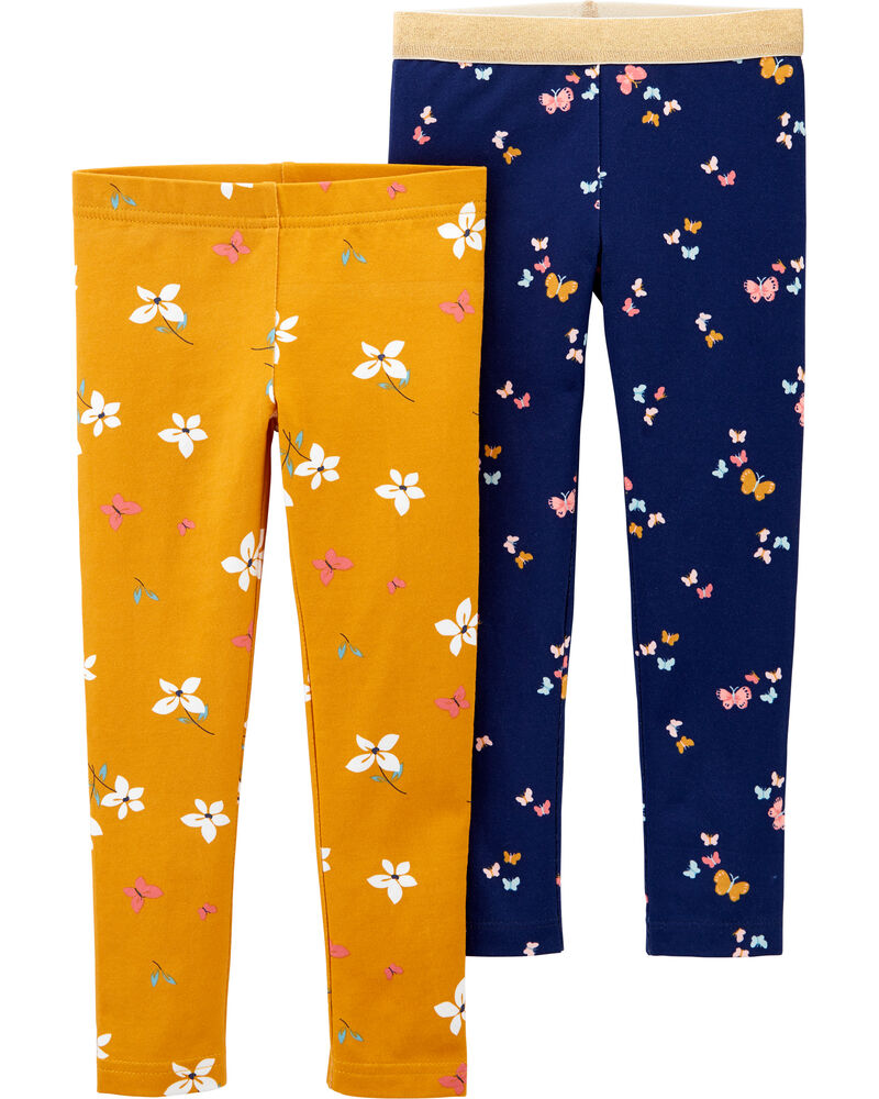 Emballage de 2 leggings fleuris, , hi-res