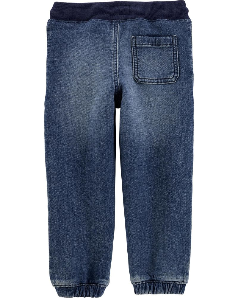 Pantalon de jogging en tricot de denim extensible, , hi-res