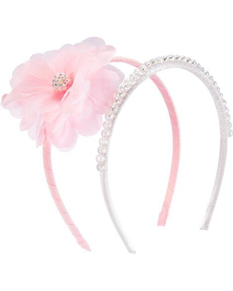 Paquet de 2 serre-têtes avec fleur et perles