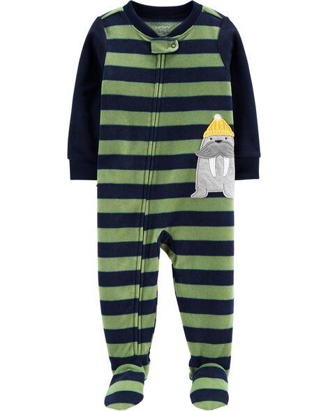 Pyjama 1 pièce en molleton avec pieds morse