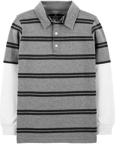Layered-Look Striped Polo