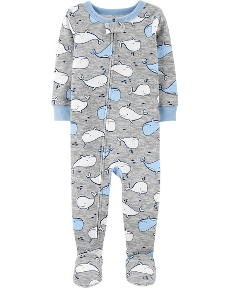 1-Piece Whale Snug Fit Cotton Footie PJs