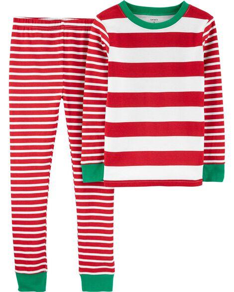 Pyjama 2 pièces en coton ajusté rayé