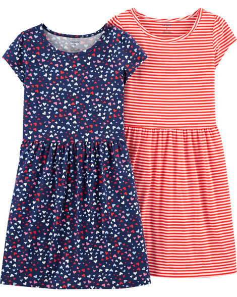 2-Pack Striped & Hearts Dresses