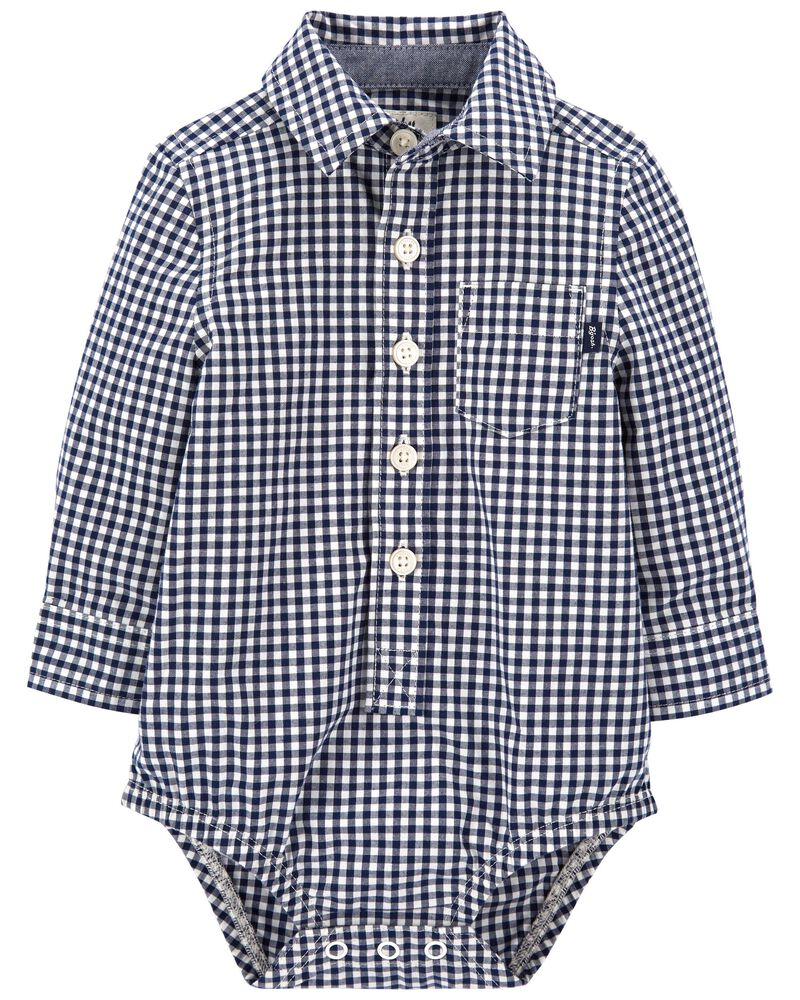Gingham Button-Front Bodysuit, , hi-res