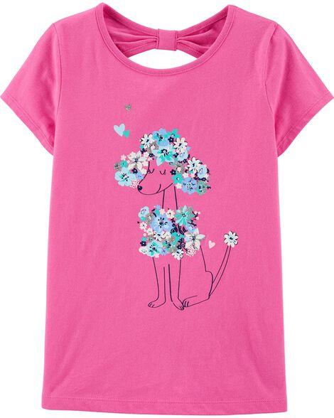 T-shirt en jersey fleuri à caniche et noeud derrière