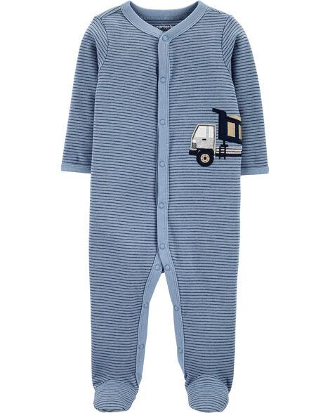 Grenouillère en coton pour dormir et jouer à boutons-pression et camion de construction