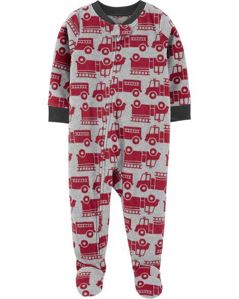 Pyjama 1 pièce en molleton à pieds camion d'incendie