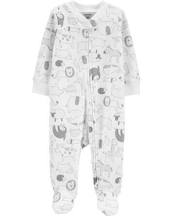 Animal 2-Way Zip Cotton Sleep & Pla...