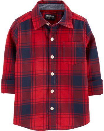 Plaid Flannel Button-Front Shirt