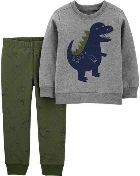 Ensemble 2 pièces chandail à dinosaure et pantalon de jogging