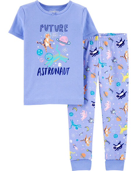 Pyjama en coton ajusté à chats astronautes