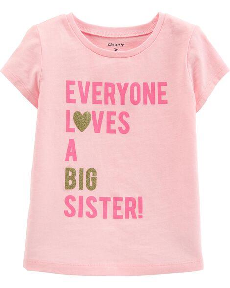 T-shirt en jersey à slogan scintillant sœur