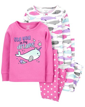 4-Piece Narwhal 100% Snug Fit Cotto...