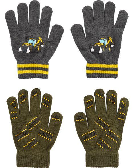 2 paires de gants agrippants motif construction Kombi