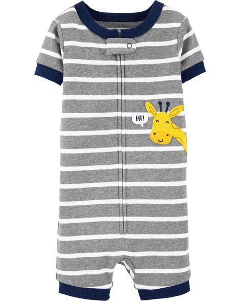 Pyjama barboteuse 1 pièce en coton ajusté motif de girafe