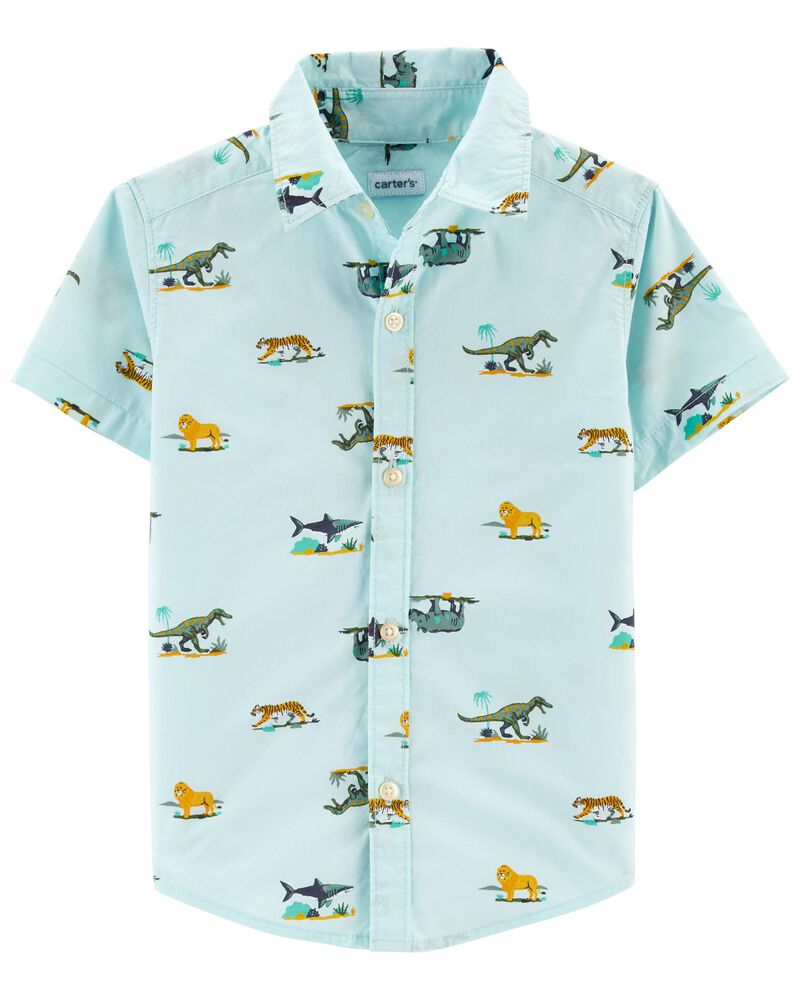 Animal Button-Front Shirt, , hi-res