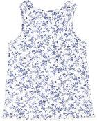 Blue Floral Rib Tank, , hi-res