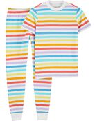 Pyjamas 2 pièces en coton ajusté à arc-en-ciel pour adulte, , hi-res